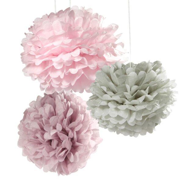 Dekorationsbollar, Pom Pom Grå/lila/rosa