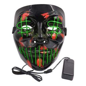 El Wire Dollarsign LED Mask - Grön