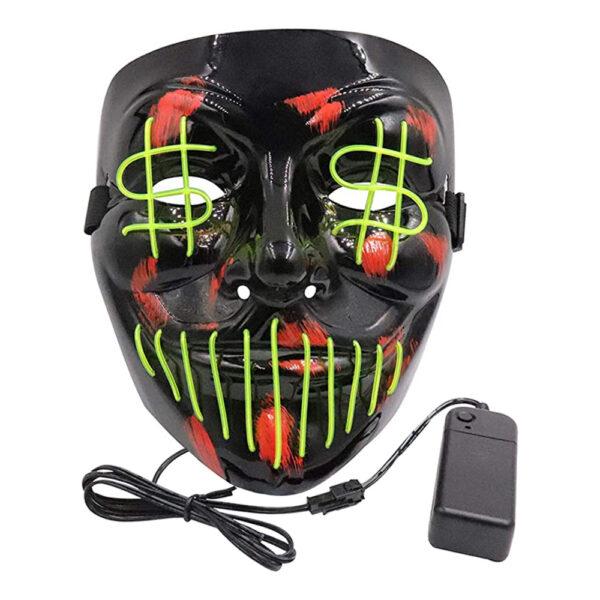 El Wire Dollarsign LED Mask - Gul
