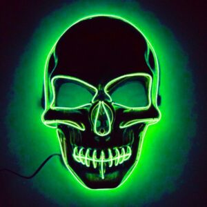 El Wire Skull LED Mask - Grön