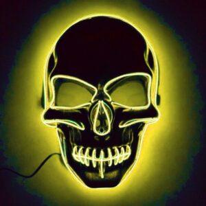 El Wire Skull LED Mask - Gul