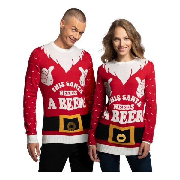 Santa Needs A Beer Jultröja - Large
