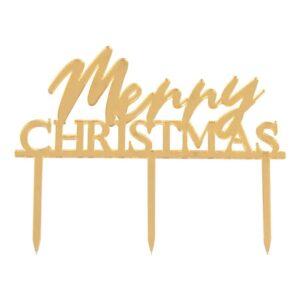 Tårtdekoration Merry Christmas Guld - 1-pack