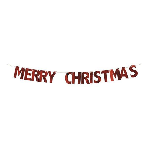 Girlang Merry Christmas Röd