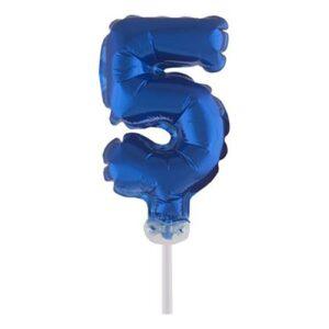 Sifferballong Mini Blå - Siffra 5