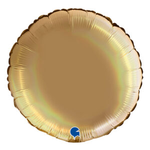 Folieballong Rund Holografisk Champagne - 91 cm