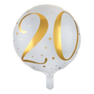 Folieballong Siffra Vit/Guld - Siffra 20