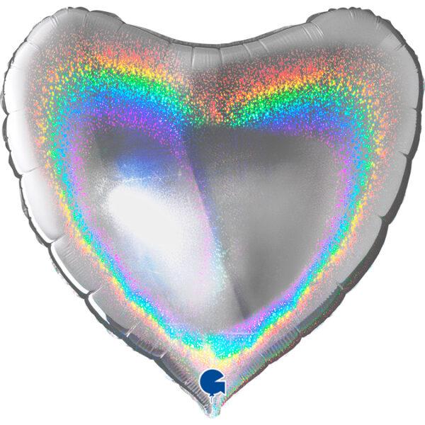 Folieballong, stort hjärta glitter silver 91 cm