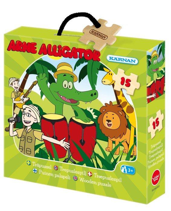 Kärnan Arne Alligator Askpussel trä 15 bitar