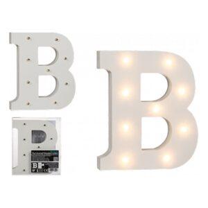 LED-Bokstav i Trä Vit - Bokstav B