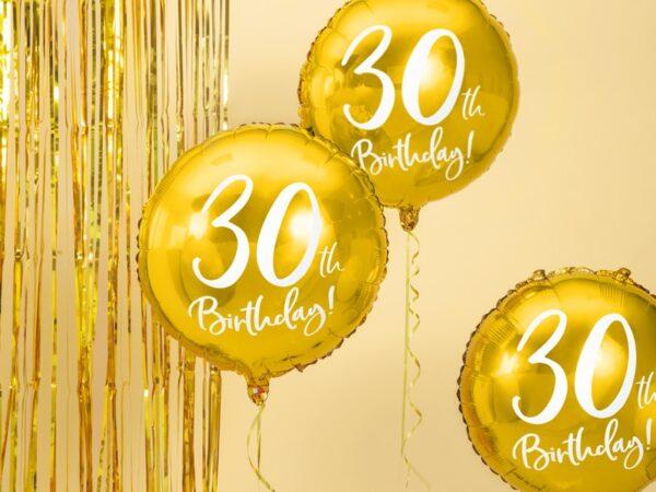 30-års heliumballong guld