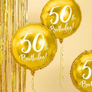 50-års heliumballong guld