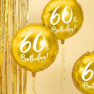 60-års heliumballong guld