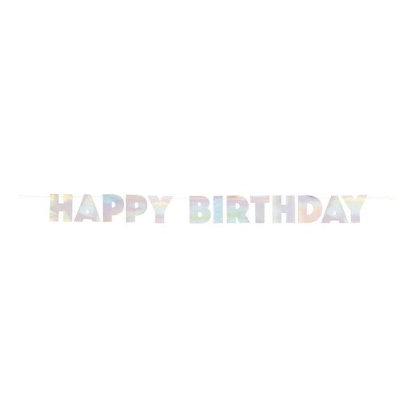 Bokstavsgirlang Happy Birthday Färgskimrande