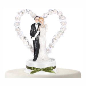 Bröllopsfigur Brudpar med Hjärta Vit - 16 cm