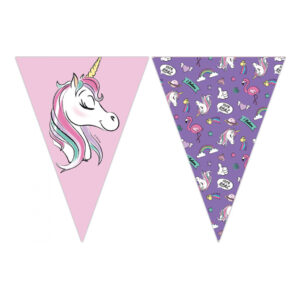 Flaggirlang Unicorn Rosa/Lila