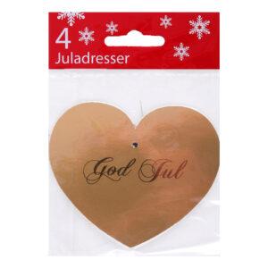 Julklappsetiketter Hjärta - Guld 4-pack