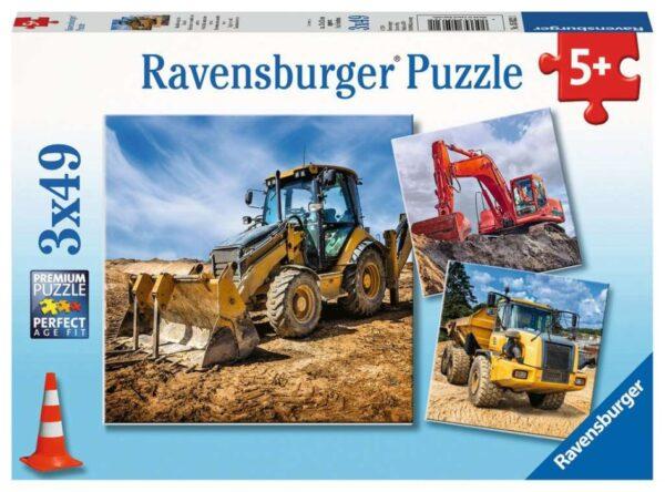 Ravensburger Pussel Grävare på jobbet 3x49-bitar