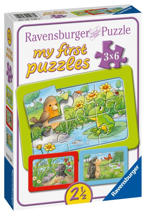 Ravensburger Pussel Små trädgårdsdjur (3x6-bitar)