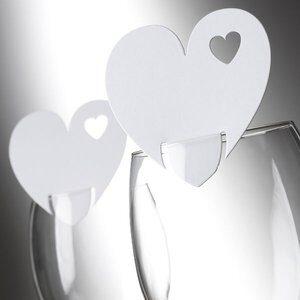 Vitt hjärta - placeringskort till glas - 10 st