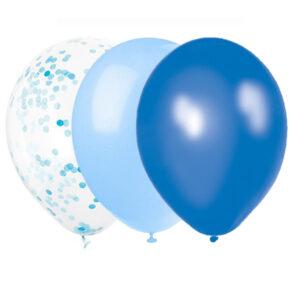 Ballonger Blå Mix med Konfetti 22 st