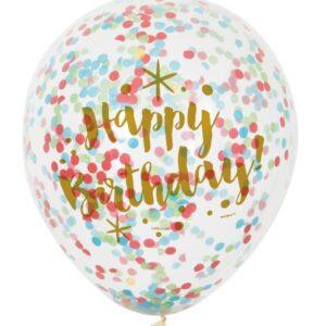Ballonger Happy Birthday med färgkonfetti