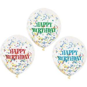 Ballonger Happy Birthday med konfetti