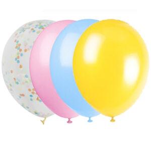 Ballonger Pastell med Konfetti 30 pack