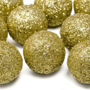 Dekorationsbollar Glitter - Stor Guld