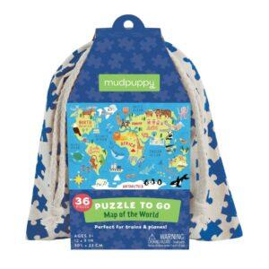 mudpuppy Pussel to go 36-bitar (Världskarta)