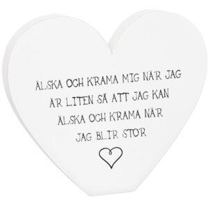 Älska och krama mig... Hjärta i trä