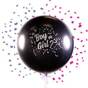 Ballong, boy or girl gender reveal inkl konfetti rosa/blå
