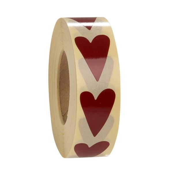 Etiketter Hjärta 3 olika - Röd