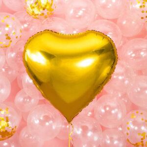 Folieballong Hjärta Guld - 45 cm