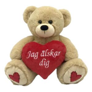 Nalle Brun med Hjärta Jag Älskar Dig - 13 cm