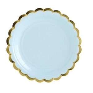Pappersassietter Ljusblå med Guldkant