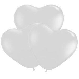 Ballonger, hjärta vit 30 cm 10 st