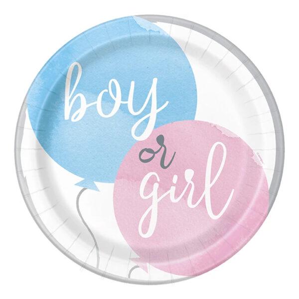 Papperstallrikar Gender Reveal He & She - 8-pack