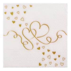 Servetter Hjärtan Guld - 20-pack