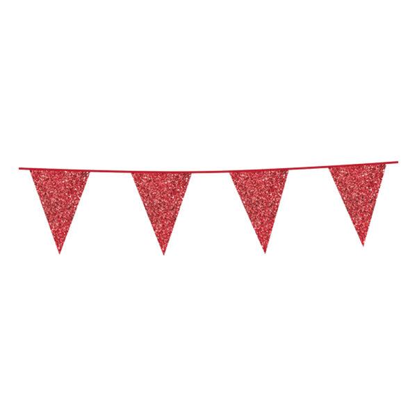 Flaggirlang Glitter Röd
