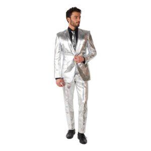 OppoSuits Shiny Silver Kostym - 62