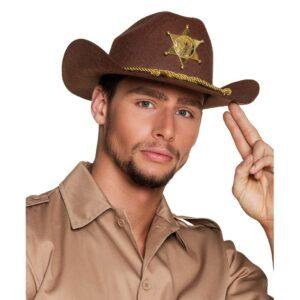 Cowboyhatt brun med detaljer