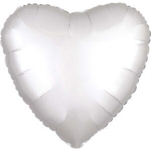 Folieballong, hjärta satin vit 43 cm