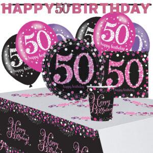 50-års Kalas Rosa Sparkling Celebration Kit 8 Pers