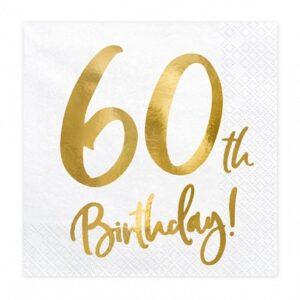 60-års servett vit/guld