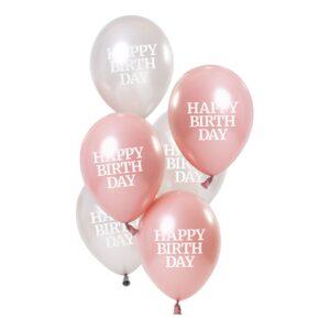 Ballonger Happy Birthday Rosa/Vit 50 År - 6-pack