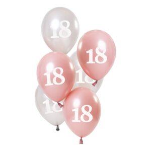 Ballonger Rosa/Vit 18 År - 6-pack