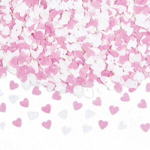 Hjärtkonfetti Rosa/Vita