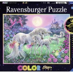 Ravensburger Pussel Enhörningar i månskenet 100-bitar (Lyser i mörker)